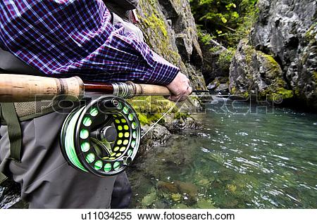 Stock Image of Fly fishing on the Heber River, Vancouver Island.