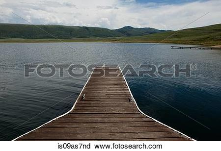 Stock Photography of Wooden piers at strawberry reservoir, Heber.