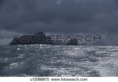Stock Image of Island of St. Kilda in typically storm weather.