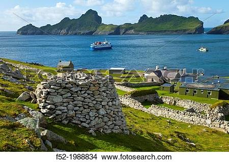 Stock Photo of Village of St. Kilda. Village Bay. St. Kilda Island.