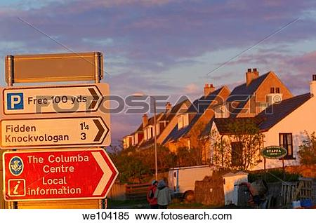 Stock Image of Road sign at Fionnphort, Mull, Inner Hebrides.