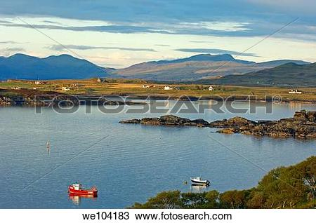 Stock Photo of Boats at sunset in Loch Scridian, Mull, Inner.
