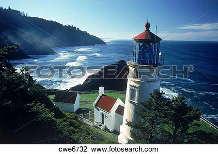 Stock Photo of Heceta Head Lighthouse near Florence, Oregon USA.