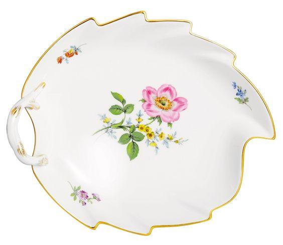 Candy dish, Vintage Flowerpainting 2, Heckenrose, gold rim, L 22.