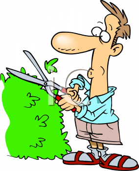 Royalty Free Clip Art Image: Guy Trimming His Yard Hedges.