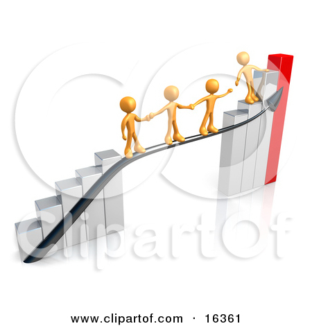 Orange Person Standing On A Silver And Red Bar Graph Chart.