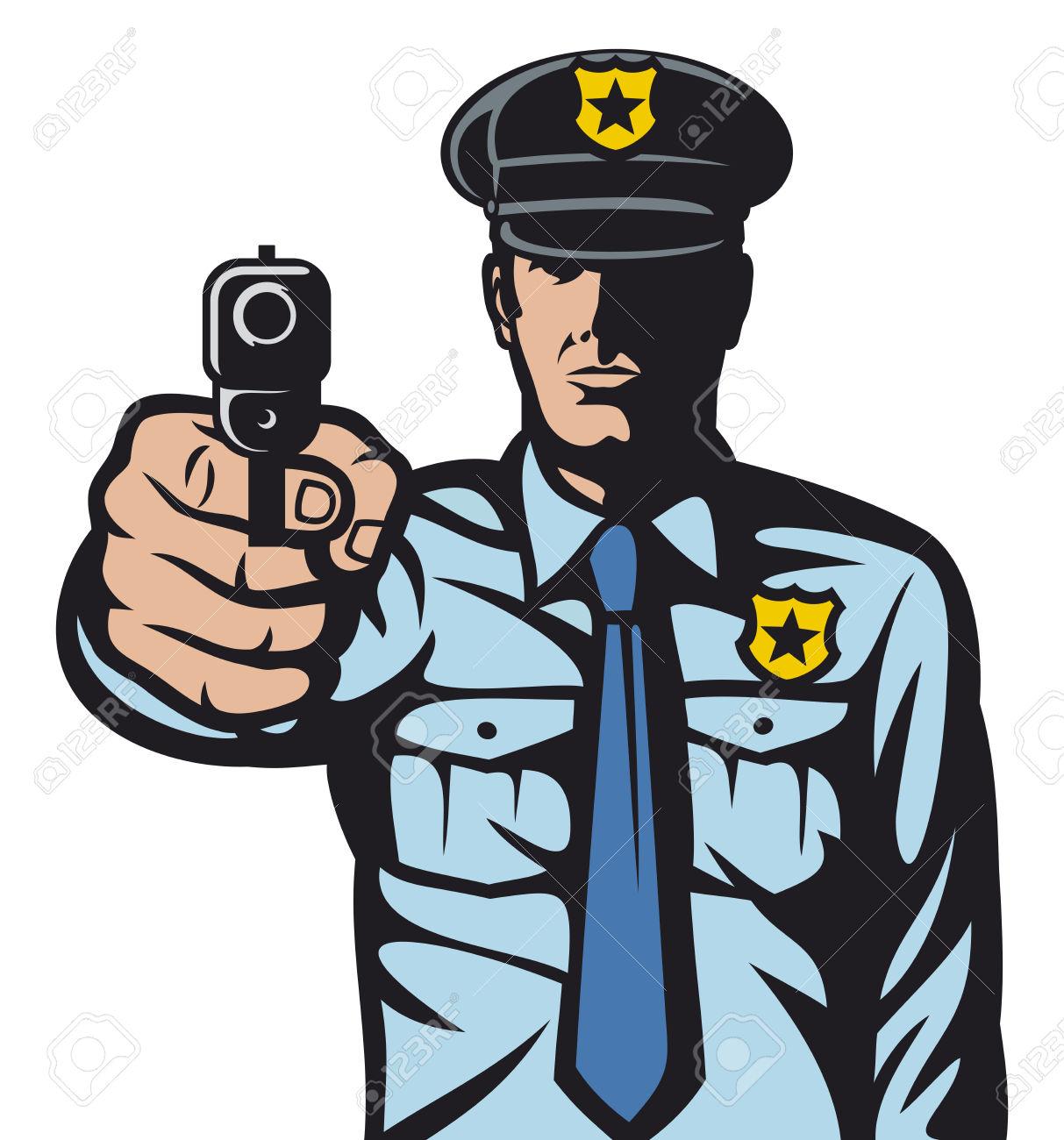 Rendőr Mutat Fegyvert Rendőr Lő Rendőr így Stoptábla Kézzel Kéz.