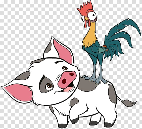 Moana Hey Hey and pig illustration, Hei Hei the Rooster.