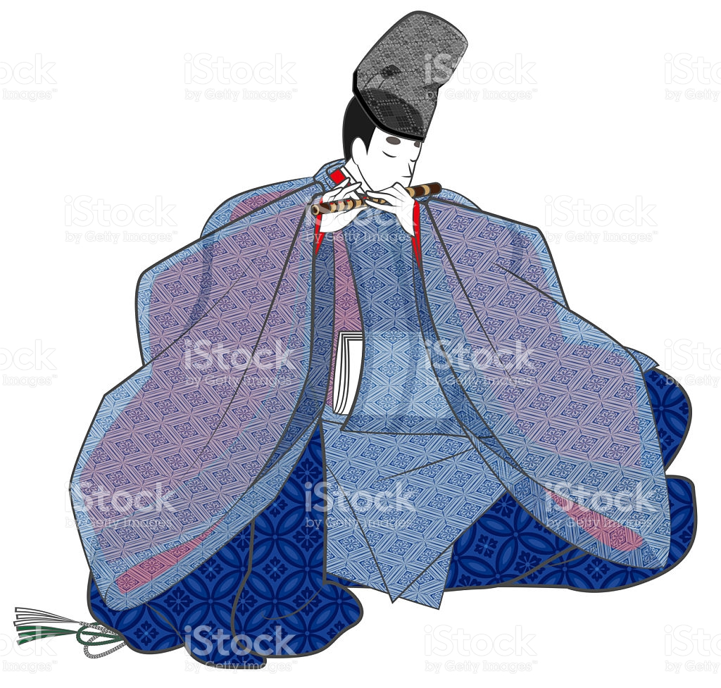 To Play The Flute Aristocracy Of The Heian Period stock vector art.