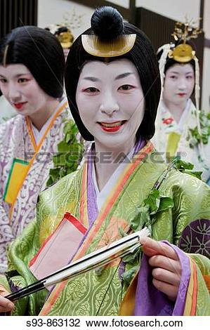 Stock Photo of A participant in the Aoi matsuri dressed as a lady.