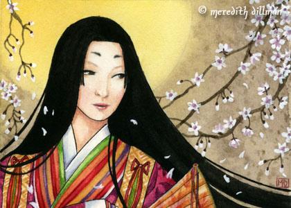 Heian Court Woman Reading Clipart.