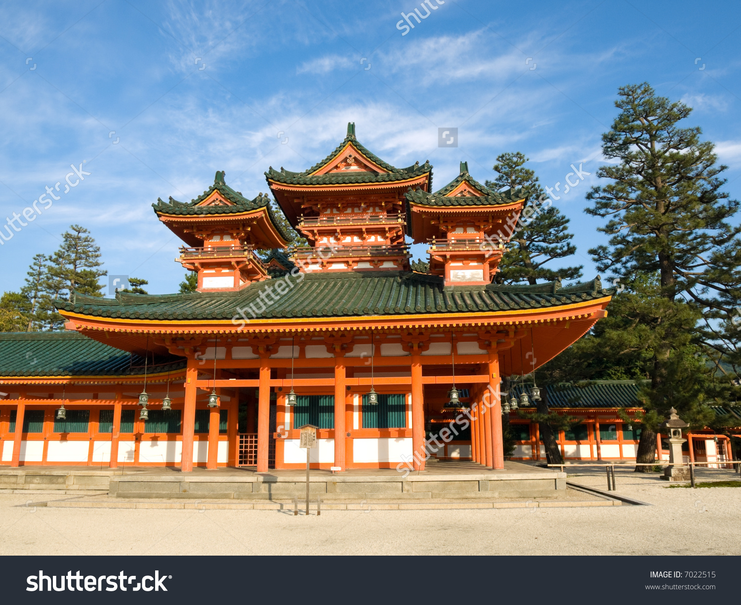 Landscape View Orange Coloured Heian Jingu Stock Photo 7022515.