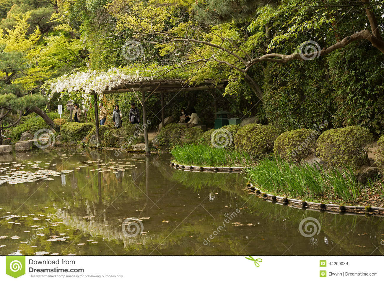 The Scenery Of Japanese Garden Near Heian Shrine. Editorial Stock.
