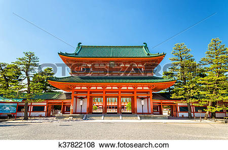 Pictures of Otenmon, the Main Gate of Heian Shrine in Kyoto.
