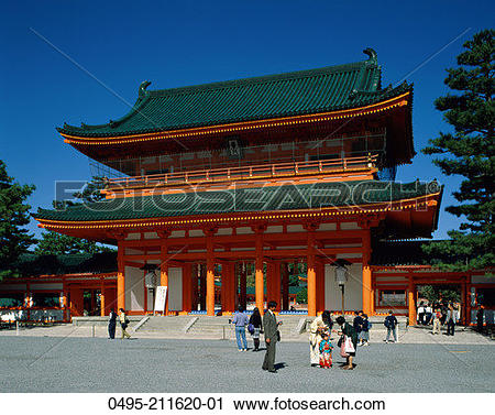 Stock Photography of Japan, Kyoto, Honshu, Heian Shrine. 0495.