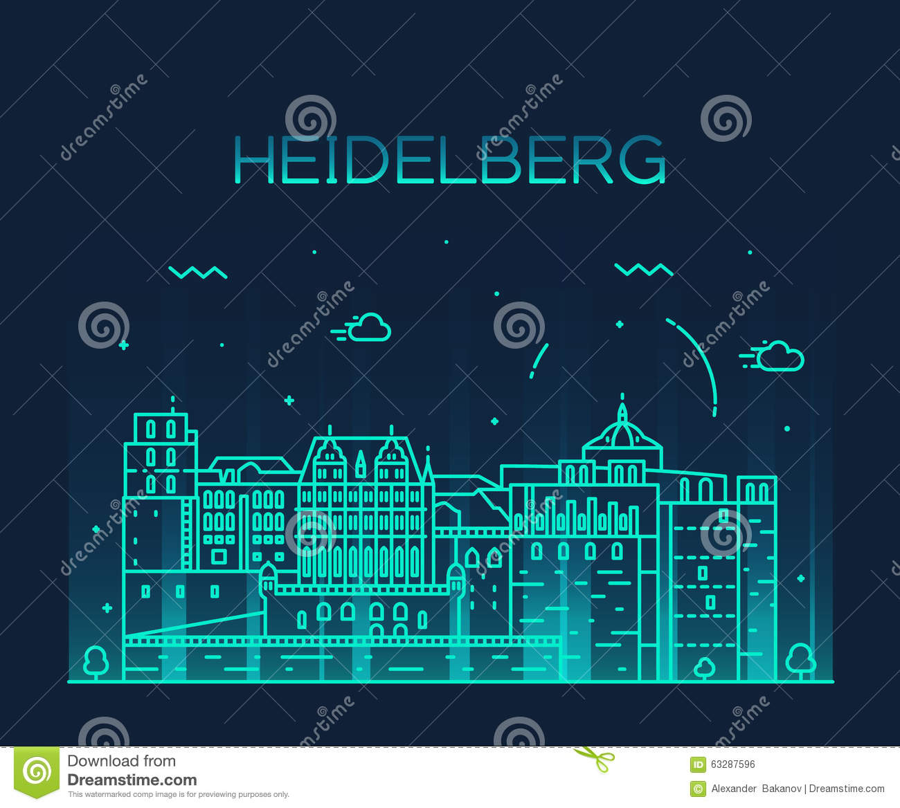 Heidelberg Skyline Vector Illustration Linear Stock Vector.