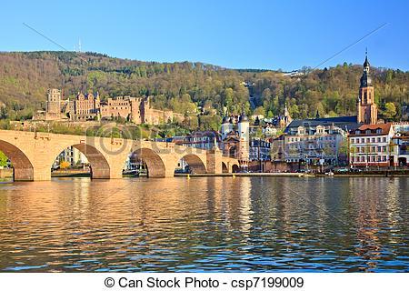Stock Photographs of Bridge in Heidelberg, Germany csp7199009.