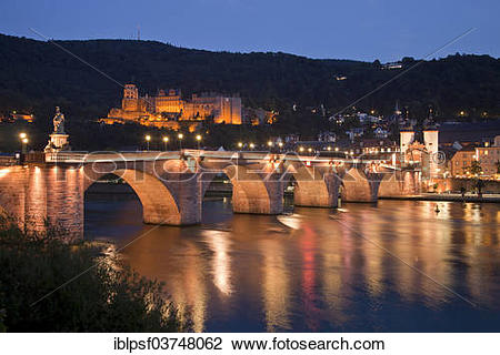 "Stock Photo of ""Old Bridge and the Neckar River, at back the."