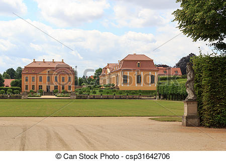 Stock Photography of Friedrich palace, orangery and statues at.