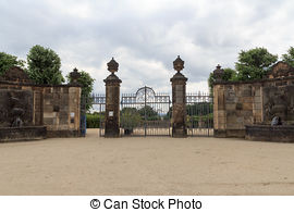 Pictures of historic gate in garden.