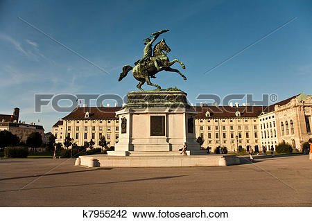 Stock Photo of horse and rider statue of archduke Karl in vienna.