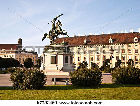 Stock Photograph of horse and rider statue of archduke Karl in.