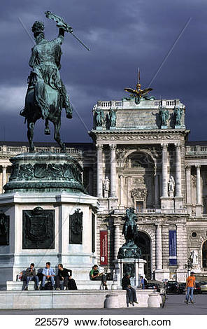 Stock Photograph of Statue in front of palace, Archduke Charles.