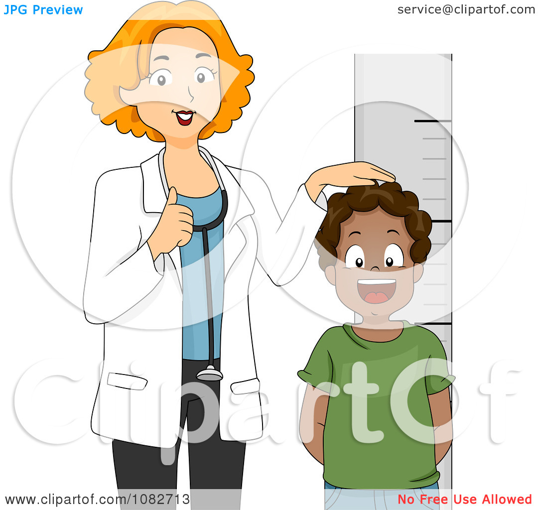 Clipart Pediatric Doctor Measuring A Black Boys Height.