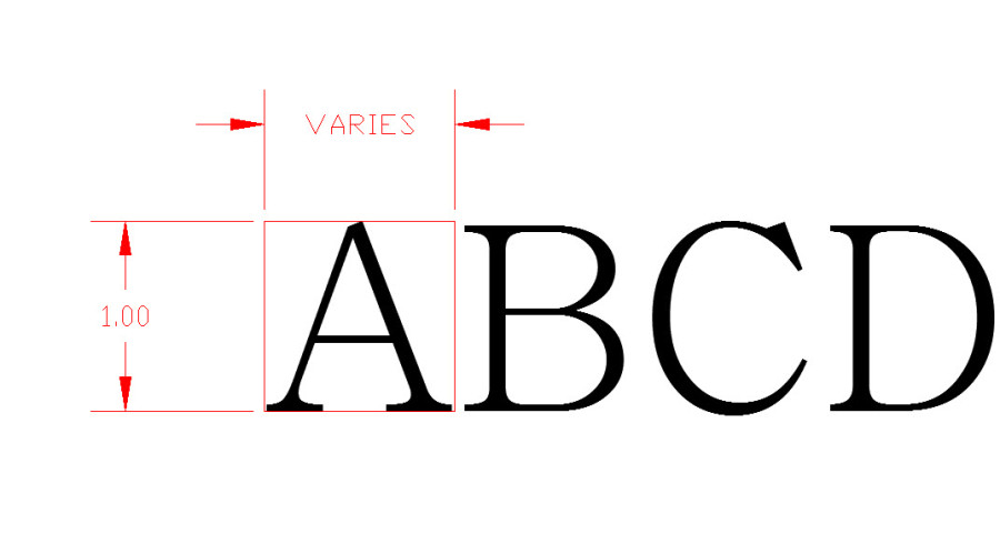 Font Height and varing width.
