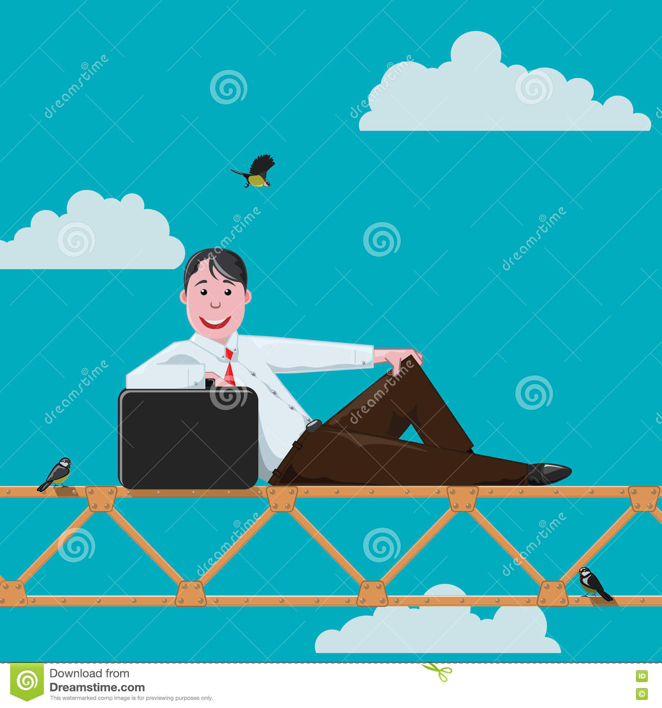 Young Businessman Climbed To An Altitude Stock Illustration.