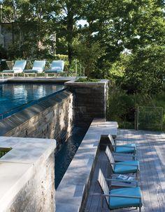 rectangular infinity pool.