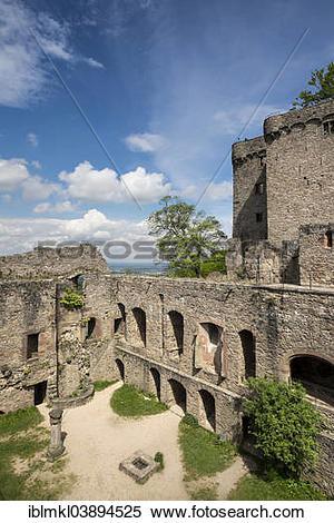 """Stock Image of """"Schloss Hohenbaden Castle on Mt Battert, Baden."""