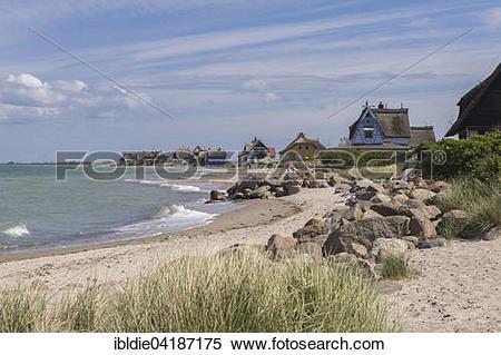 Stock Image of Baltic Sea beach, houses on Graswarder.