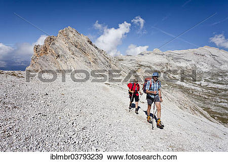 "Stock Photograph of ""Mountain climbers on the Lavarella Saddle, in."