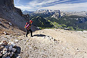"Picture of ""Mountain climber on Kreuzkofelscharte while ascending."