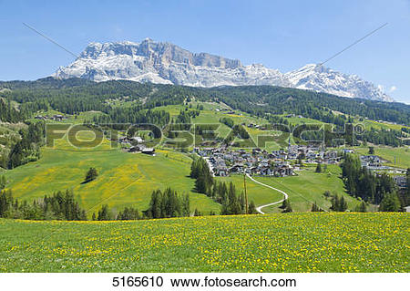 Stock Photography of View above Alta Badia to the Fanes group with.