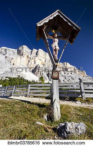 """Stock Images of """"Wayside cross at the Heiligkreuz refuge, Mt."""