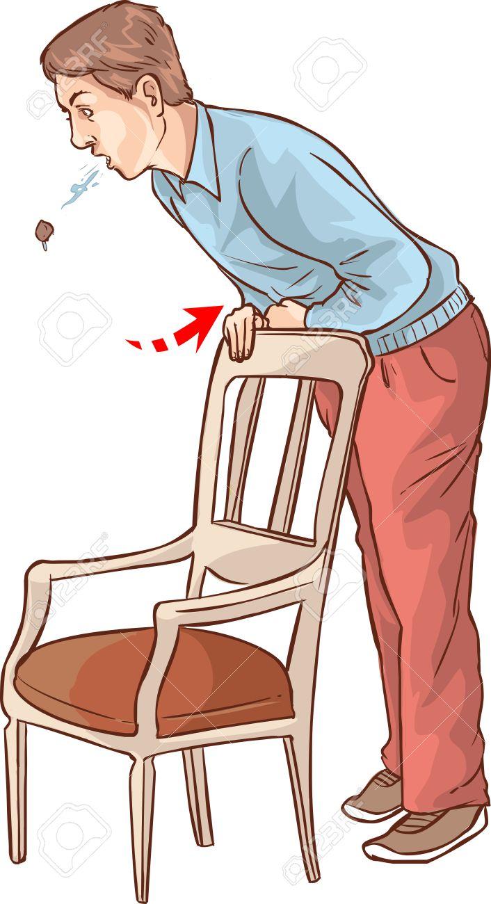 vector illustration of a Heimlich maneuver on oneself.