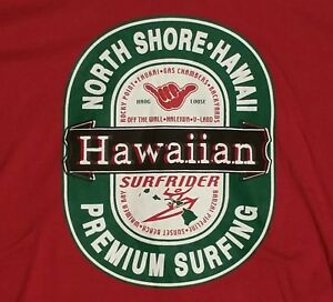 Details about LARGE RED NORTH SHORE HAWAII PREMIUM SURFING TEE T.