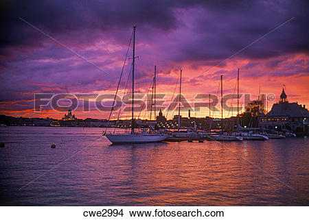 Stock Photo of Sailboats at Yacht Club in South Harbor of Helsinki.