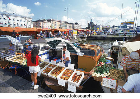 Stock Photograph of Market place at South Harbor in Helsinki.
