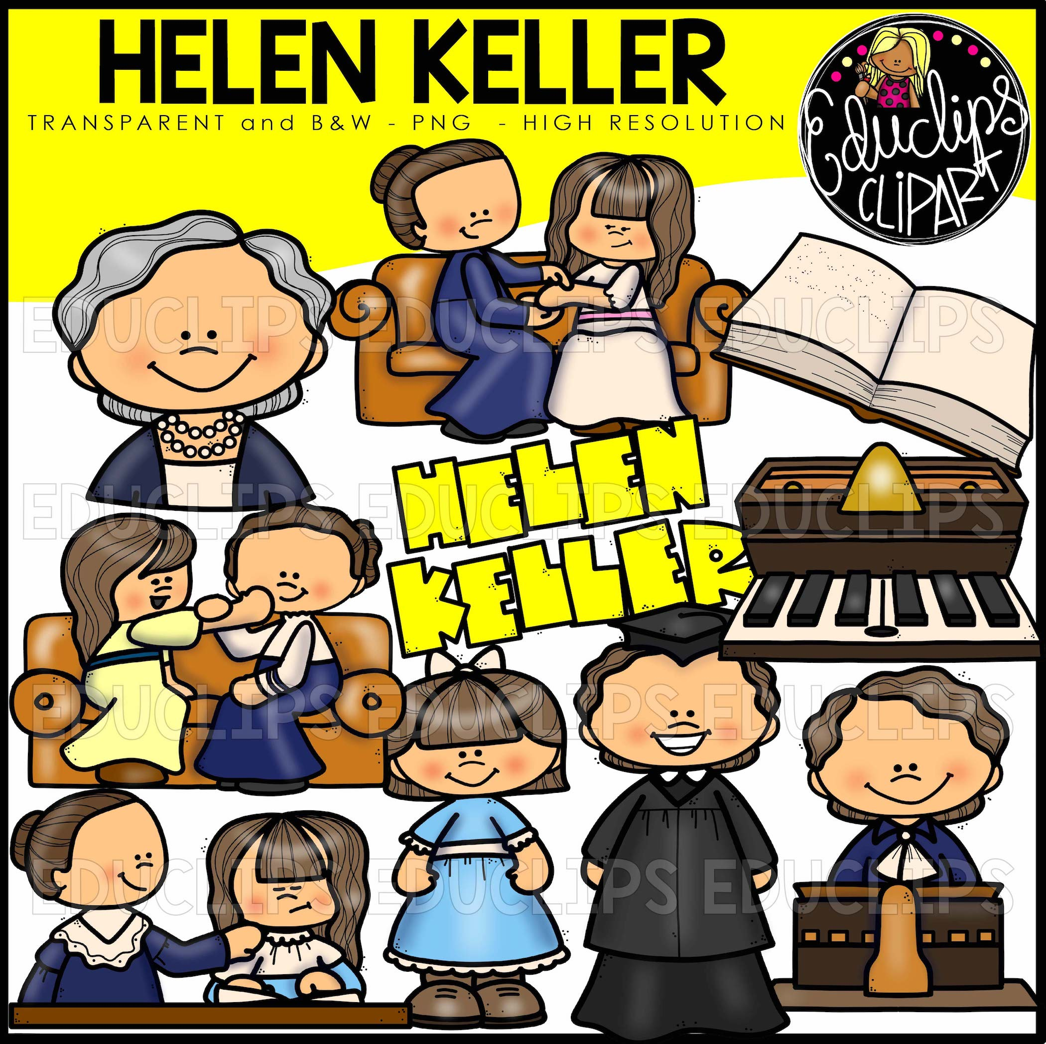 Helen Keller Clip Art Bundle (Color and B&W).