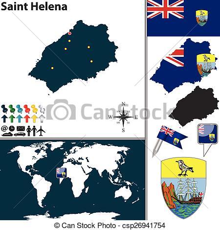 Clipart Vector of Map of Saint Helena Island.