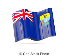 Wave icon with flag of saint helena Clipart and Stock.