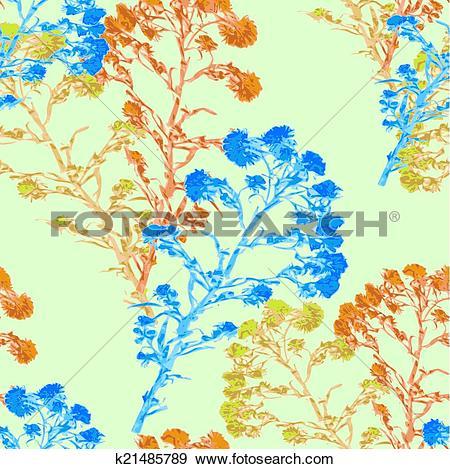 Clip Art of seamless pattern watercolor flower Helichrysum, yarrow.