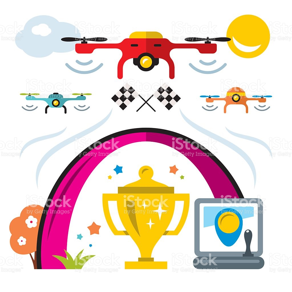 Vector Quadrocopter Racing Competition New Sport Flat Style.