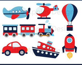 Transportation Clip Art Clipart with Car, Truck, Train, Helicopter.