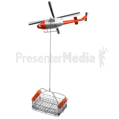Rescue Helicopter With Lowered Basket.