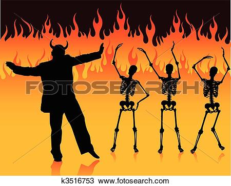 Clipart of devil man dancing in hell with fire and skeletons.