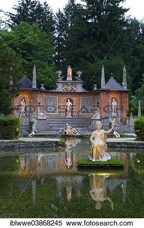 "Stock Image of ""Fountains, Roman Theatre, Schloss Hellbrunn Palace."